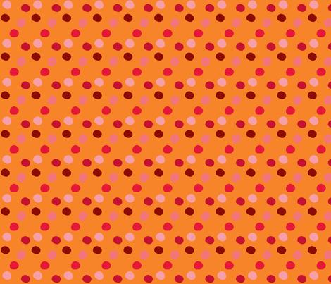 pois_rouge_fond_orange fabric by nadja_petremand on Spoonflower - custom fabric