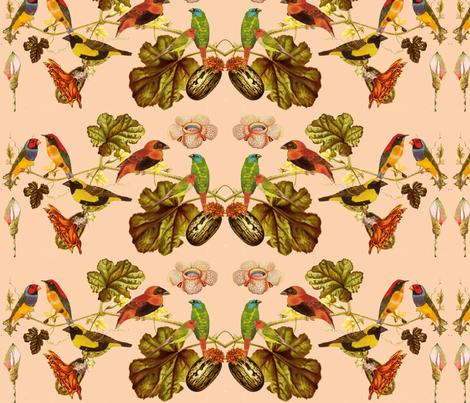 Birds & flowers fabric by sadie_ruben on Spoonflower - custom fabric