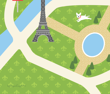 "Map of Paris - 58"" Cotton Twill playmat fabric by supercoop on Spoonflower - custom fabric"