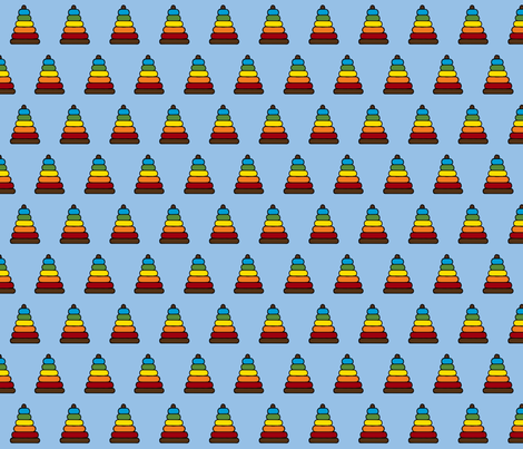Toy Stacker on Blue fabric by mayabella on Spoonflower - custom fabric