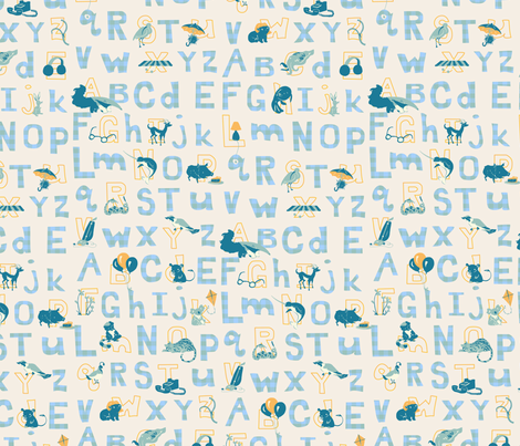 Alliterative Alphabet in Modern Blues fabric by eloisenarrigan on Spoonflower - custom fabric