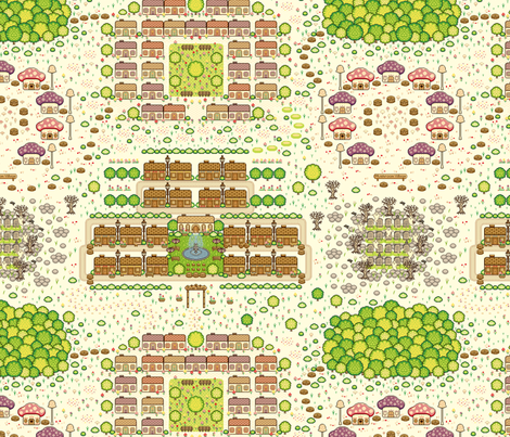 Map of Pixel Town  fabric by teja_jamilla on Spoonflower - custom fabric