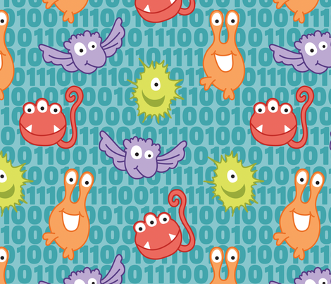 Monster Bytes on teal fabric by sew-me-a-garden on Spoonflower - custom fabric