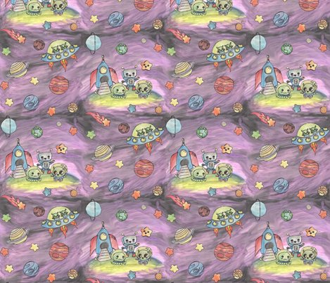 Baby aliens fabric poshcrustycouture spoonflower for Alien fabric