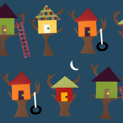 Treehouses_33x25 fabric by lisapoblenz on Spoonflower - custom fabric