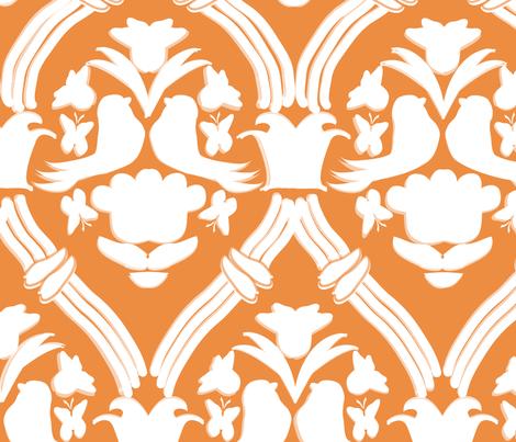 "BIG, HAPPY DAMASK in ""TANGERINE"" fabric by trcreative on Spoonflower - custom fabric"