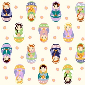 Russian matryoshka dolls with flowers and candles