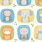 animal babies - baby lions tigers monkeys elephants giraffes kangaroos hippos koalas - nursery decor pattern boys girls