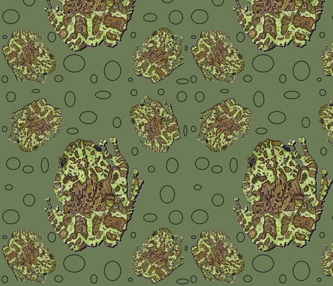 Mossy Tree Frog with Circles fabric by ccreechstudio on Spoonflower - custom fabric
