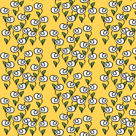 White Flowers on Gold fabric by pond_ripple on Spoonflower - custom fabric