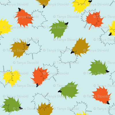 Hedgehogs & Leaves - Blue Background