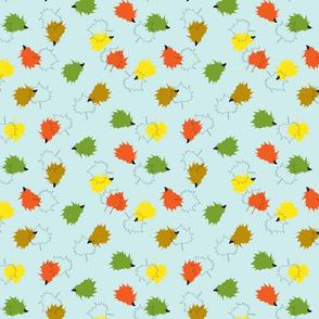 Hedgehogs & Leaves - Blue Background