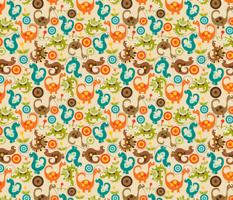 Baby Dino fabric by valentinaharper on Spoonflower - custom fabric