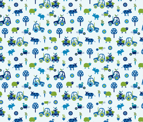 farm_print_blue fabric by juditgueth on Spoonflower - custom fabric