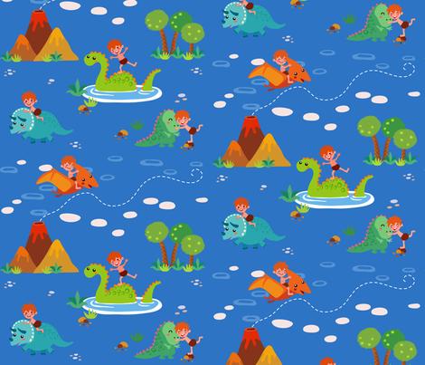 Fun with Dinosaurs | Blue fabric by irrimiri on Spoonflower - custom fabric