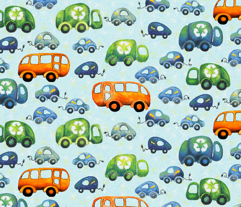 Green Wheels: Recycling Trucks, Electric Cars, and Buses fabric by fussypants on Spoonflower - custom fabric