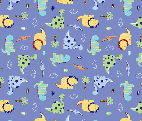 Dino_Land_Fabric_design fabric by jojothebuffalo on Spoonflower - custom fabric