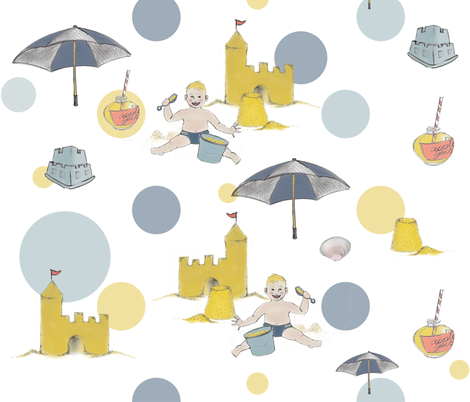 A Day at the Beach (Baby Sandcastles) fabric by nightgarden on Spoonflower - custom fabric