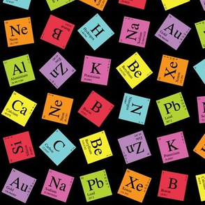 topsy turvy periodic dark - Periodic Table Fabric