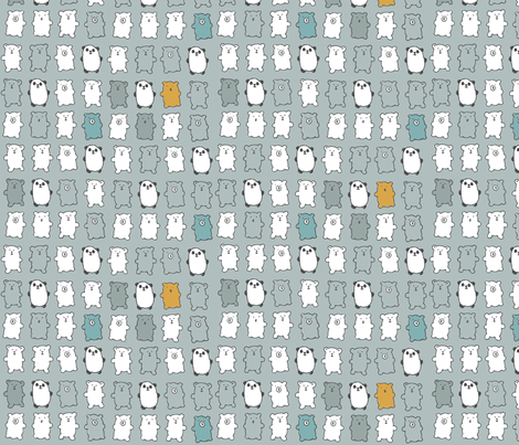 bears in gray fabric by juliannlaw on Spoonflower - custom fabric