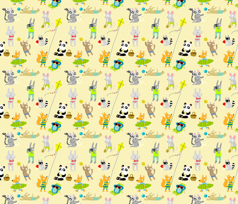 A day at the beach fabric by lukaluka on Spoonflower - custom fabric