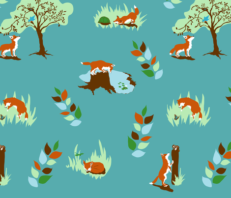 little fox fabric by rose'n'thorn on Spoonflower - custom fabric