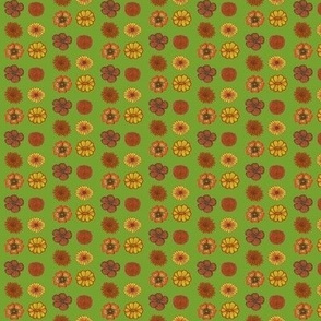 rust/yellow flowers (on green)