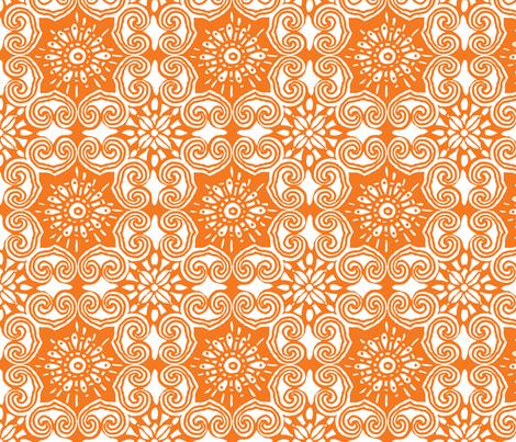 AsianLace_orange fabric by luana_life on Spoonflower - custom fabric