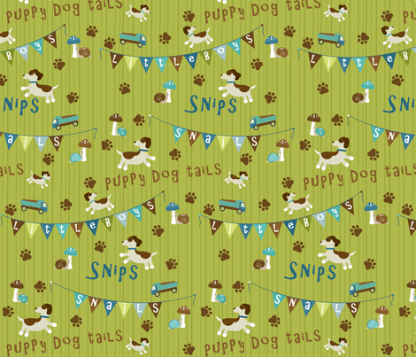 Snips n Snails Bunting - Blue fabric by ink_tree on Spoonflower - custom fabric