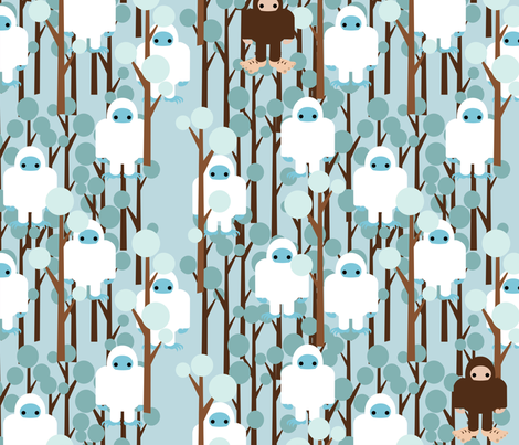 Lost in Yeti Forest fabric by thirdhalfstudios on Spoonflower - custom fabric