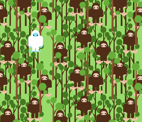 Lost in Bigfoot Forest fabric by thirdhalfstudios on Spoonflower - custom fabric