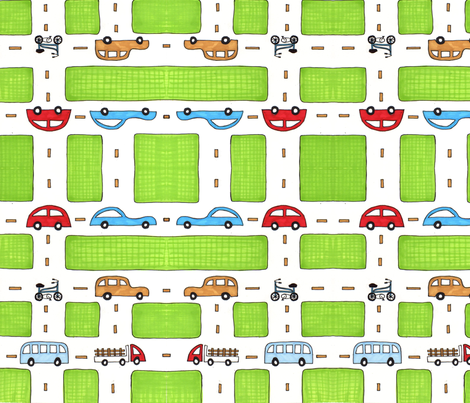 cars go fabric by helena_navarro on Spoonflower - custom fabric