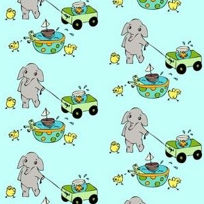 Elephants chicks and goldfish