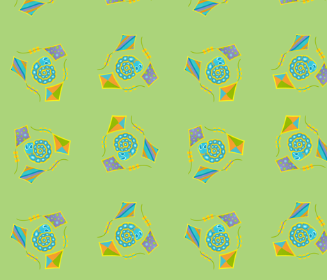 Kite Tales and Snails (Pastel Green) fabric by jonquil on Spoonflower - custom fabric