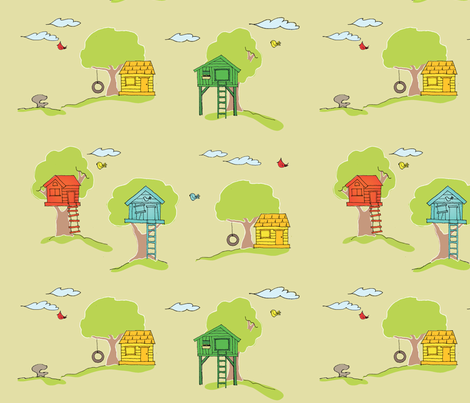 Backyard_Cubby_Houses fabric by kellydees on Spoonflower - custom fabric