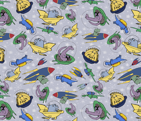 Dinosaurs in space fabric wheatiebee spoonflower for Space fabric