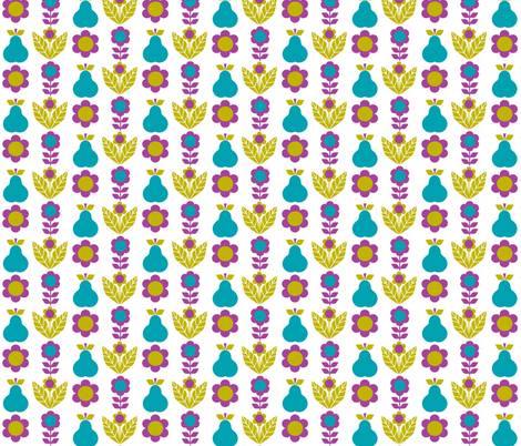 pear_flowers blue fabric by aliceapple on Spoonflower - custom fabric