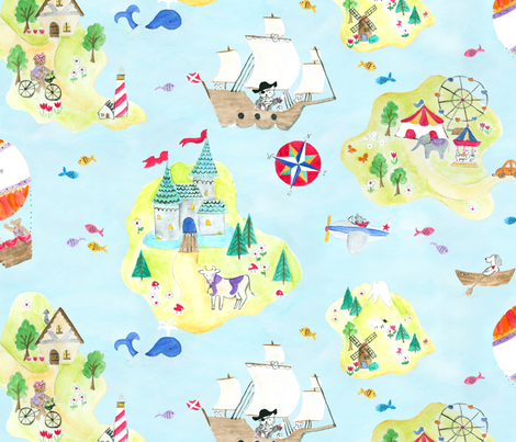 map to dreamland fabric by minimiel on Spoonflower - custom fabric