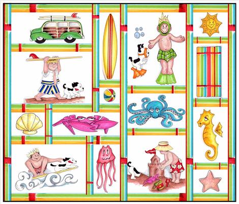 Beach_Boy_Cream_layout_3 fabric by socalgalsstudio on Spoonflower - custom fabric