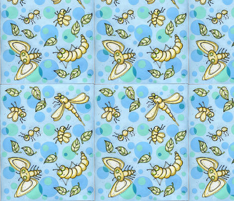 bugs_and__bubbles001sm fabric by jwd on Spoonflower - custom fabric