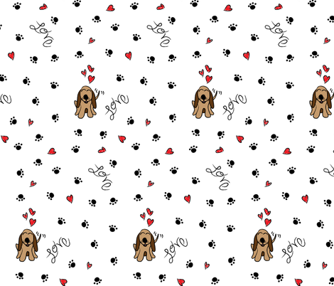 Hound Dog Love fabric by robyriker on Spoonflower - custom fabric