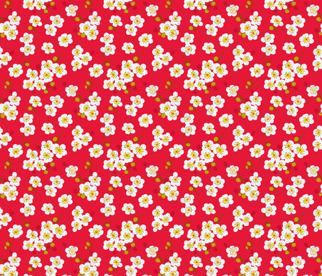 pear blossom-cherry red fabric by littlerhodydesign on Spoonflower - custom fabric