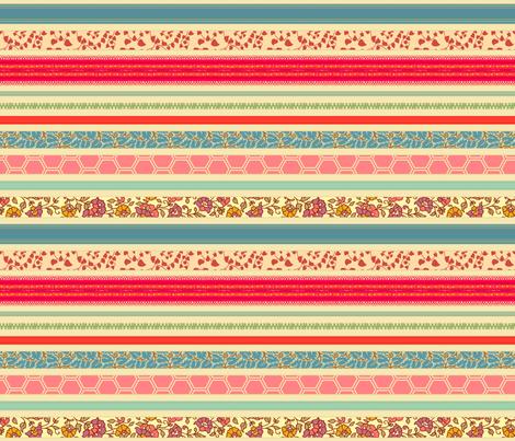 romantic ribbon stripe - tea stain fabric by littlerhodydesign on Spoonflower - custom fabric