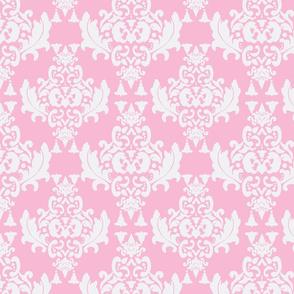 White on Pink Damask