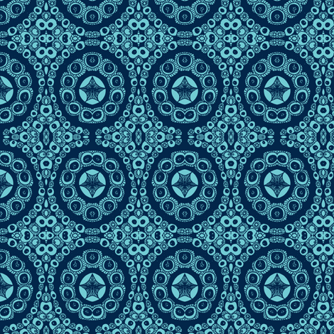 Blue star circles fabric by tallulah11 on Spoonflower - custom fabric