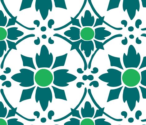 flower tile dark blue fabric by myracle on Spoonflower - custom fabric