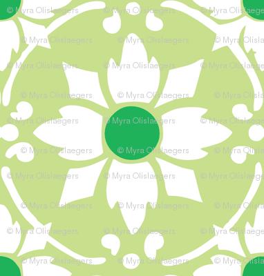 flower tile green