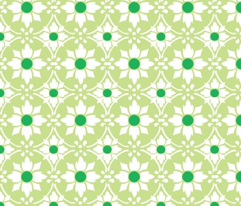 flower tile green fabric by myracle on Spoonflower - custom fabric