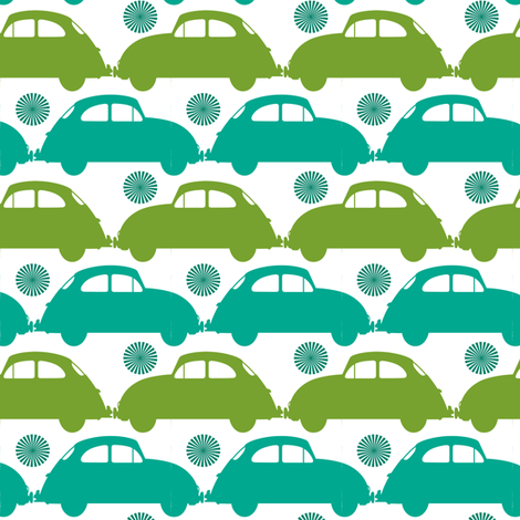 love bug turquoise and green fabric by fleamarkettrixie on Spoonflower - custom fabric