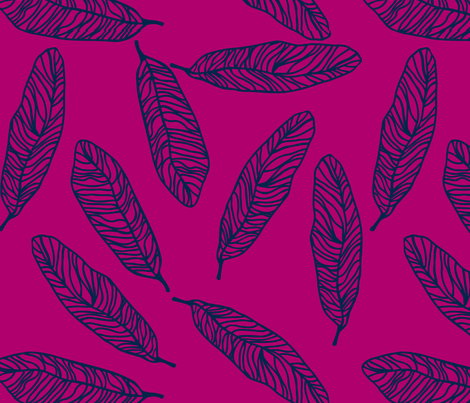 Tickling Feathers in berry fabric by lana_kole on Spoonflower - custom fabric